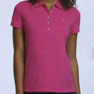 Nautica Short Sleeve Stretch Solid Polo Shirt Pink